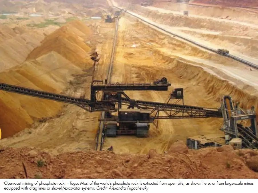 Most of the phosphate we use in commercial fertilizer comes from phosphate rock, which was once sediment at the bottom of the ocean. This mine is located in Togo.