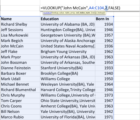 "VLOOKUP searches for the first term in the first column of that array. The ""2"" in the third term says to return the answer in the second column of the selected array once VLOOKUP finds ""John McCain"" in the first."
