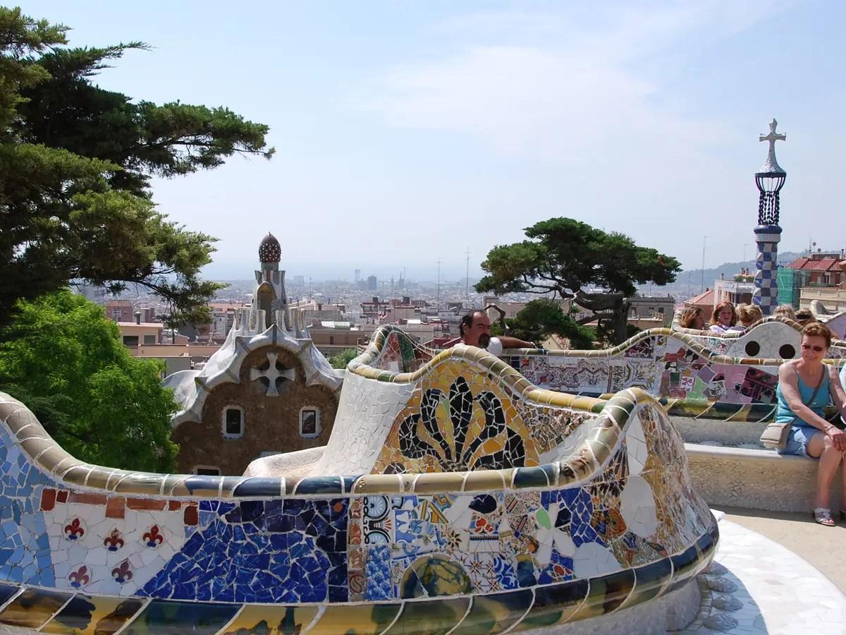 Picnic in Antoni Gaudí's surreal Park Güell in Barcelona, Spain.