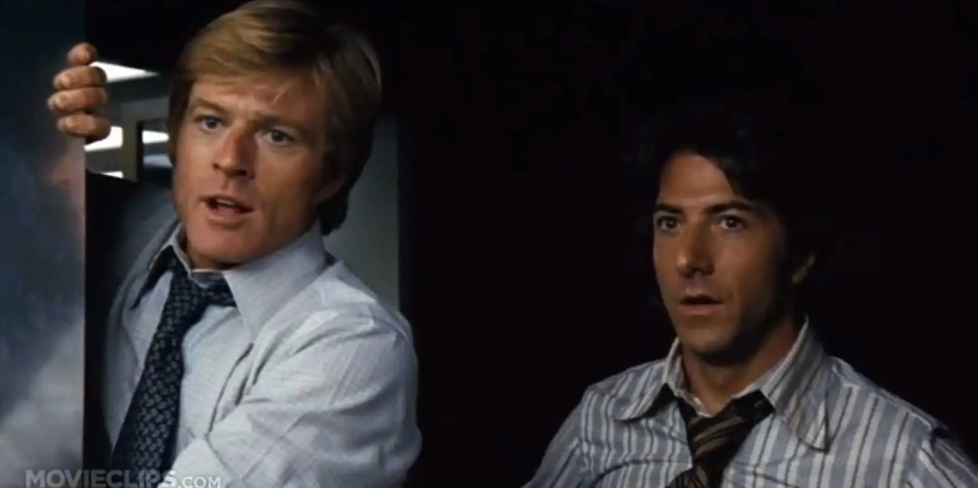 """All The President's Men"" (1976): Reporters Bob Woodward (Robert Redford) and Carl Bernstein (Dustin Hoffman) investigate the Nixon administration's Watergate scandal for The Washington Post."