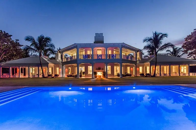 #7 Singer Celine Dion put her lavish Florida compound on the market for $72 million. The home was custom-built and designed in 2010 by Celine Dion herself, with a four-bedroom guest house, simulated golf range, and three separate pools.