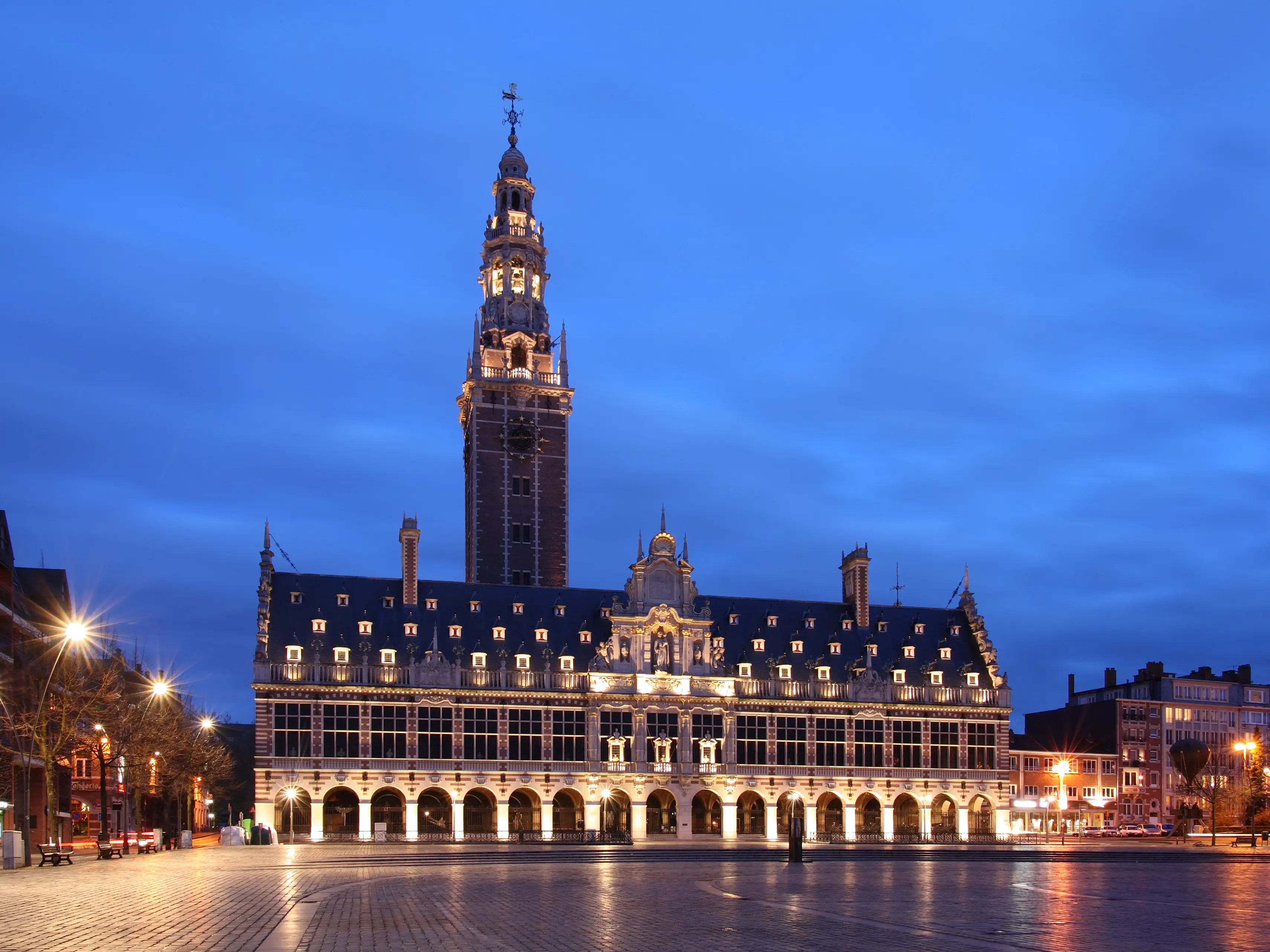 The historic Universiteitsbibliotheek KU Leuven opened in 1928 at Katholieke Universiteit Leuven in Belgium. It's a library that houses scientific information for researchers and students.