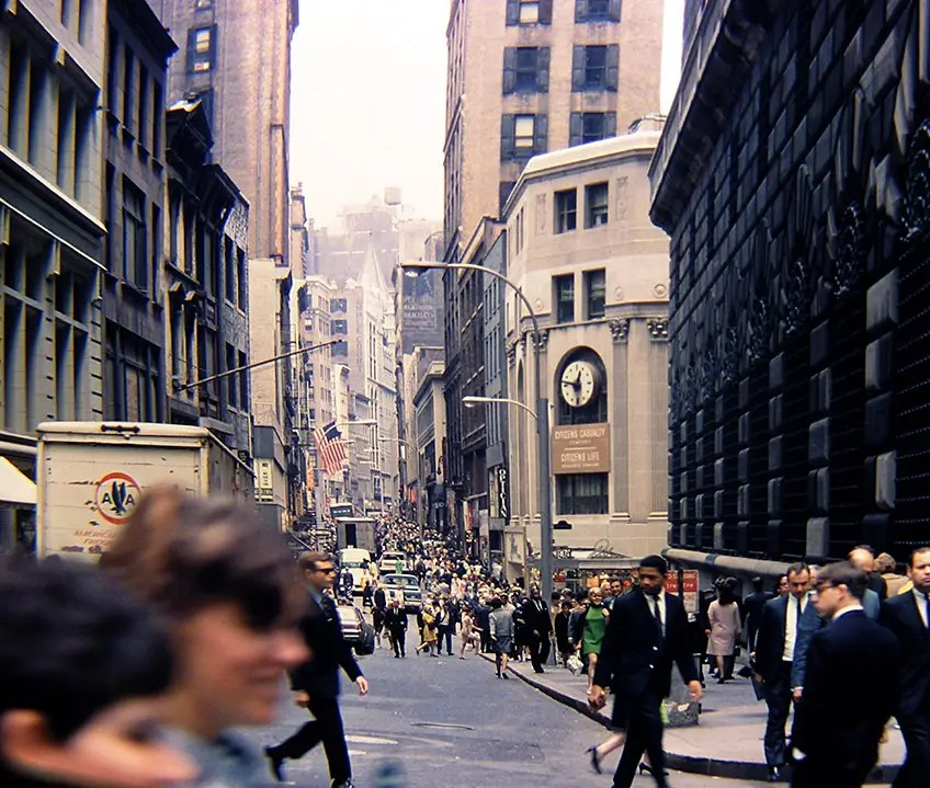 1968: Here's a look at lunch hour on Nassau Street in the Financial District, with the Federal Reserve Bank of New York on the right.