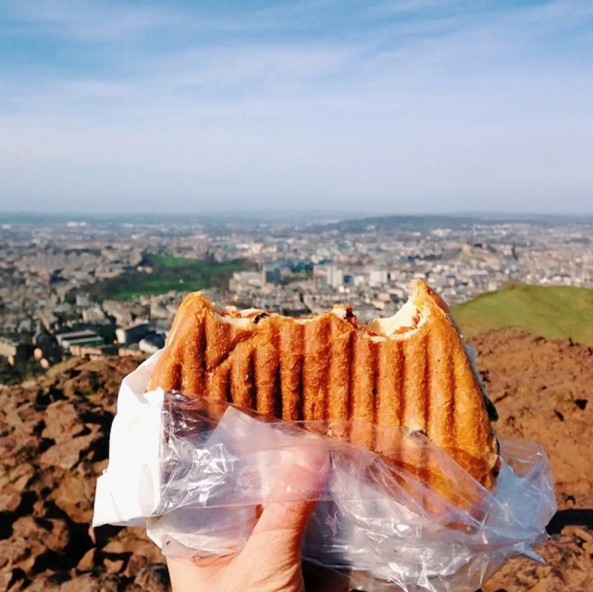 Delicious sandwich at the peak of Arthur's seat in Edinburgh. The weather ain't always this good in Edinburgh, but I am blessed.