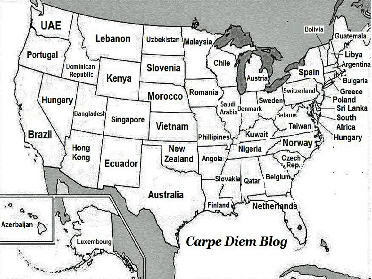 Map renames each US state with country generating same GDP