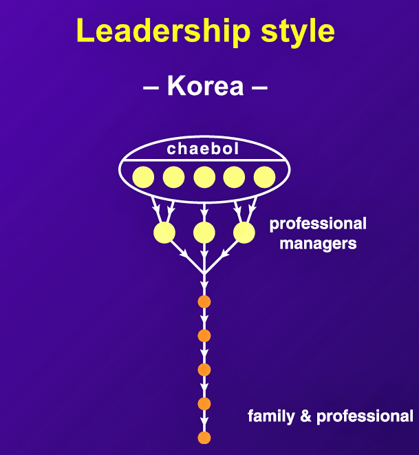 "Korean ""chaebols,"" or conglomerates, are typically family-owned. ""Nepotism is rampant, with all sons, brothers, nephews, etc., holding key positions."""