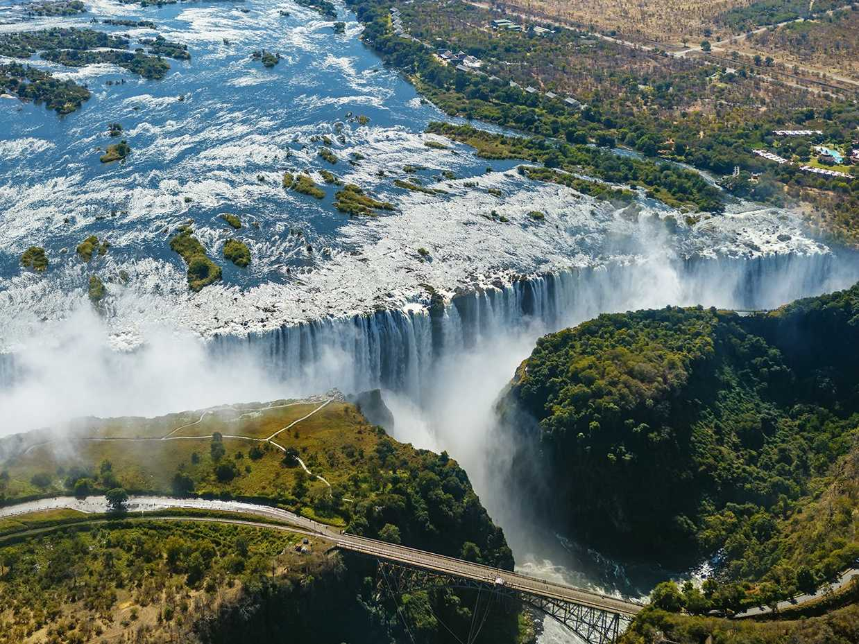 In Victoria Falls, bordering Zambia and Zimbabwe, is Devil's Pool, a natural infinity pool hundreds of feet high.