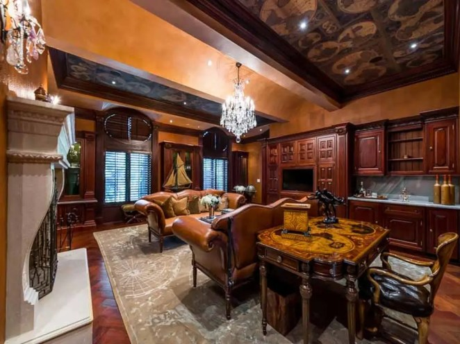 Man cave possibilities abound in the French Provincial-style home.