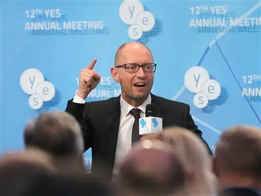 Ukrainian Prime Minister Arseniy Yatsenyuk speaks during the 12th annual meeting entitled At Risk: How New Ukraines Fate Affects Europe and the World organized by the Yalta European Strategy (YES) in partnership with the Victor Pinchuk Foundation at the Mystetsky Arsenal Art Center in Kiev, Ukraine, Saturday, Sept. 12, 2015. More than 200 leaders from politics, business and society representing more than 20 countries will discuss major global challenges and their impact on Europe, Ukraine and the world. (AP Photo/Efrem Lukatsky)