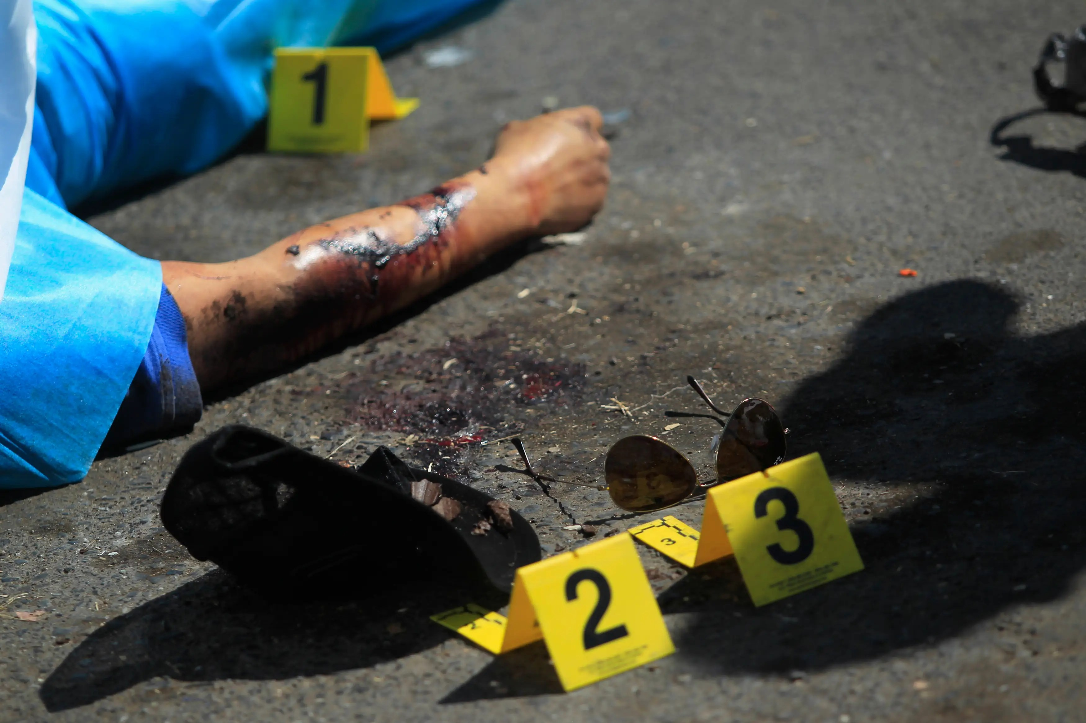 Mexico crime scene blood victim