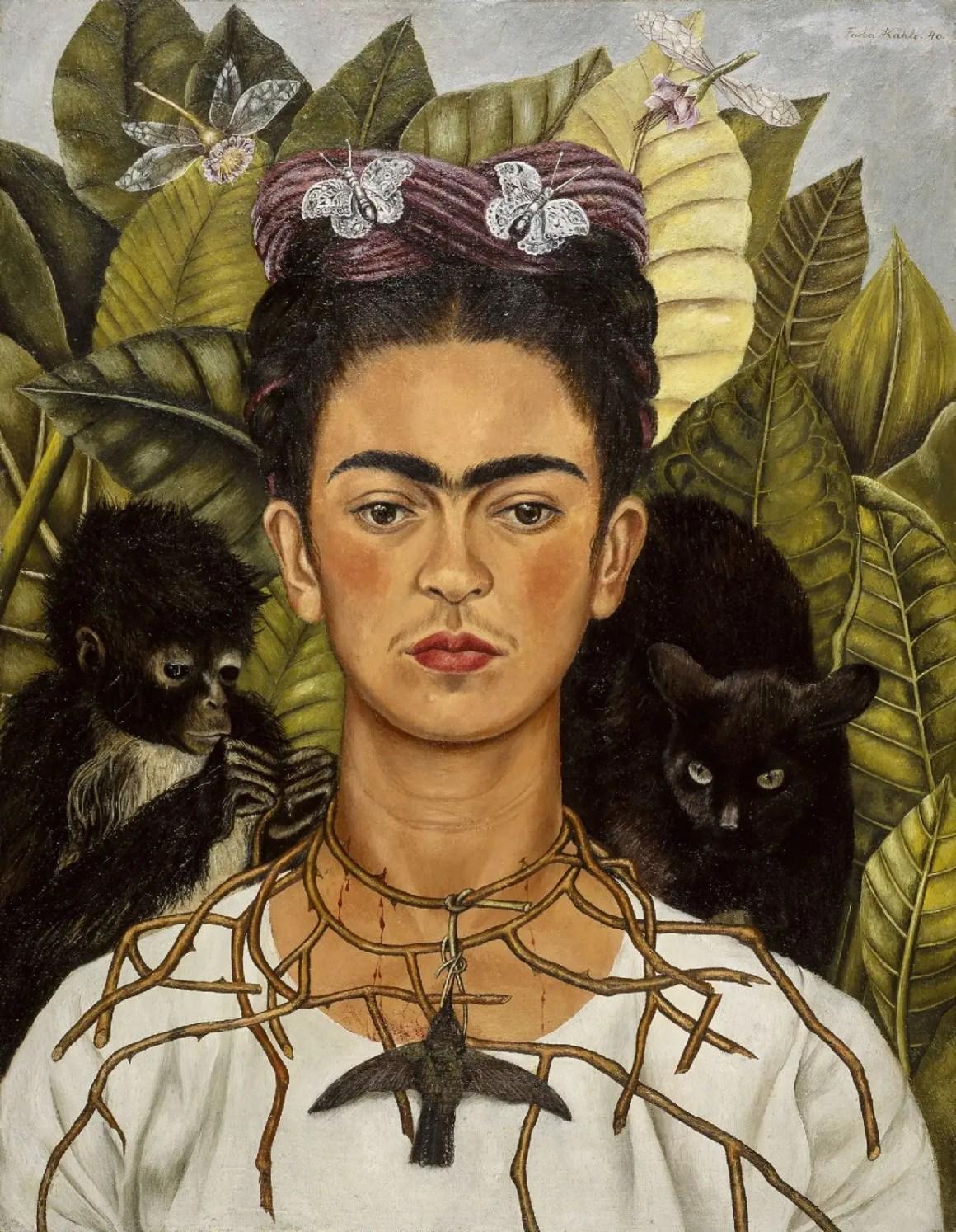 L'autoportrait de Frida Kahlo avec Thorn Necklace and Hummingbird au Harry Ransom Center à Austin, au Texas.