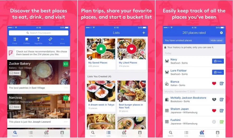 Foursquare will find you a place to eat and more.