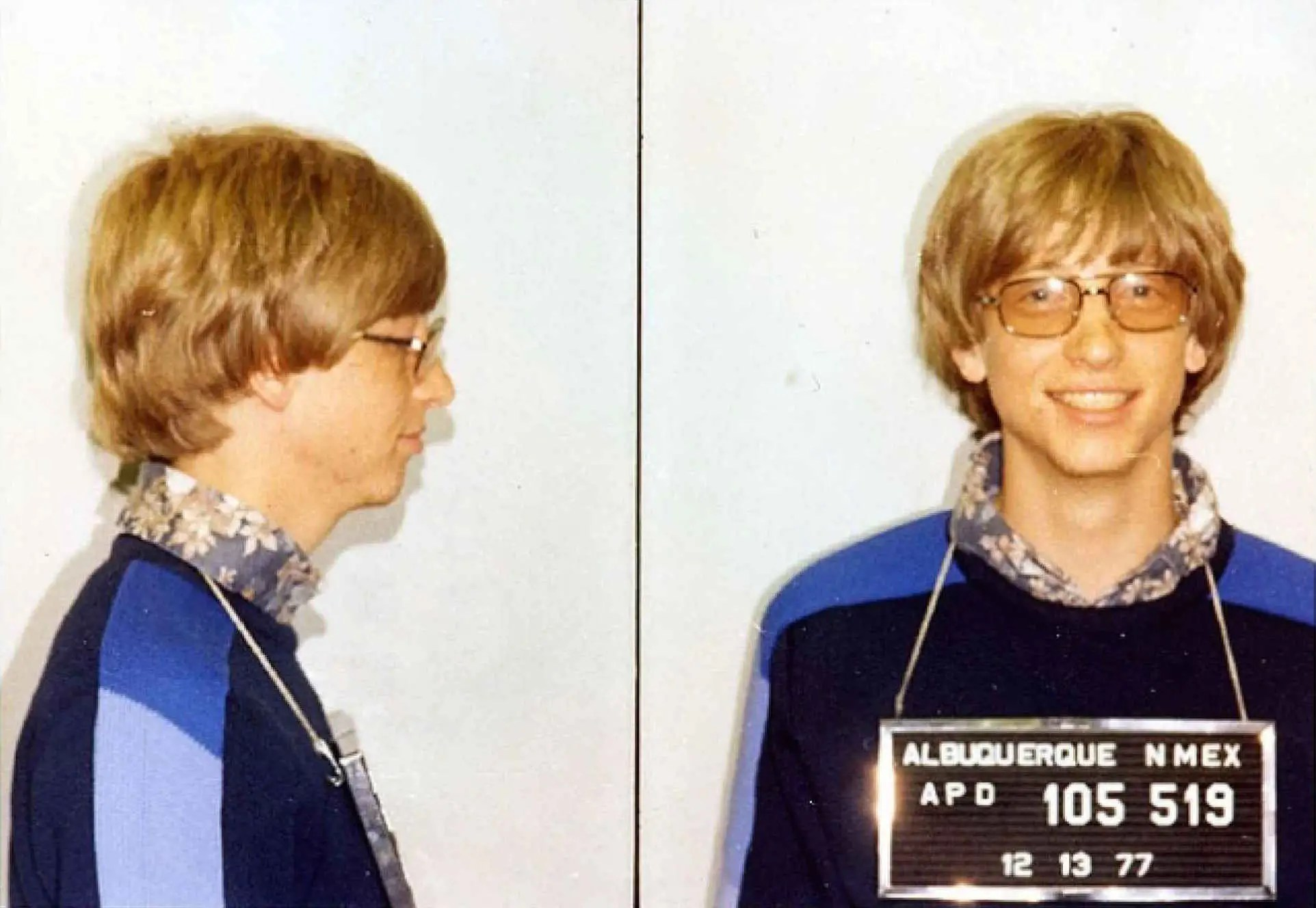 Two years after he dropped out of Harvard, Gates was arrested in New Mexico. He was driving without a license and ran a red light.