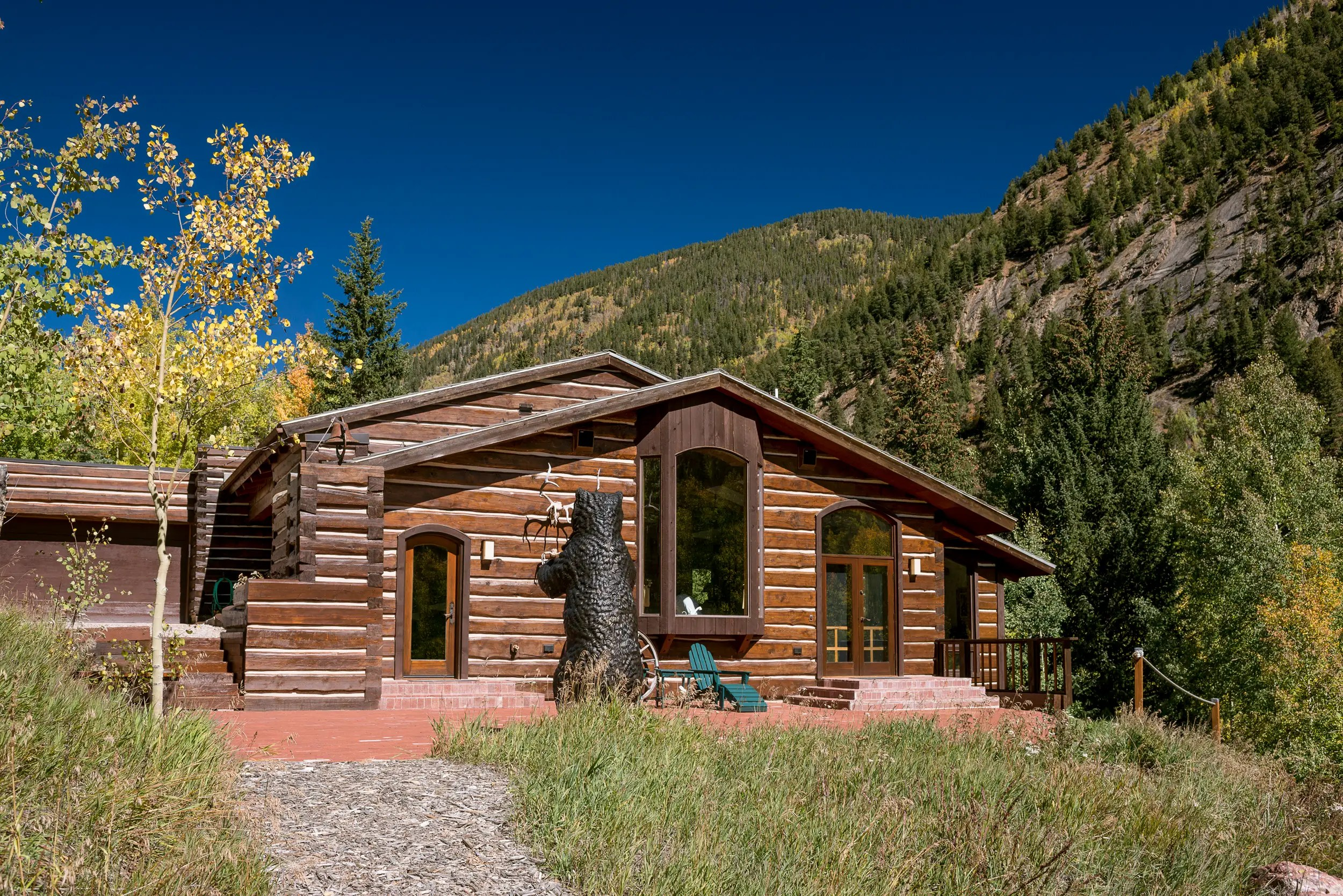 The second parcel, called Ashcroft, is 7.4 acres and available separately for $7.375 million. It's got an outdoor hot tub and a cozy wood-burning stove.