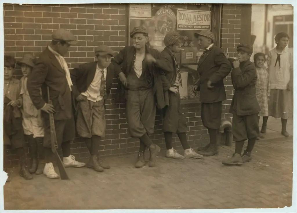 Street gang, corner of Margaret & Water Streets - 4:30 p.m. Location: Springfield, Massachusetts, June 1916.
