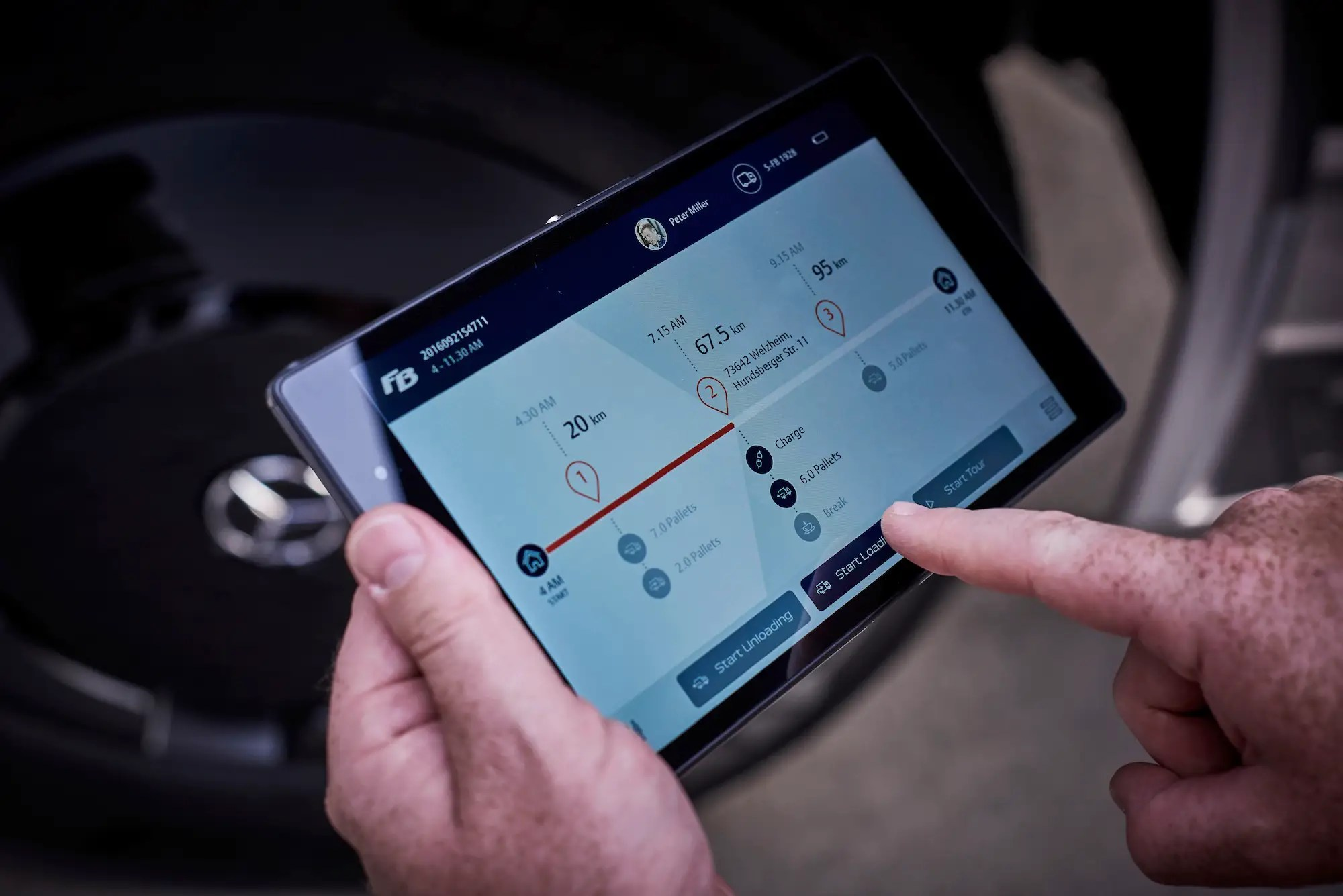 The truck also comes with a separate tablet that keeps track of the truck's battery life and how many miles it can travel before needing to re-charge.
