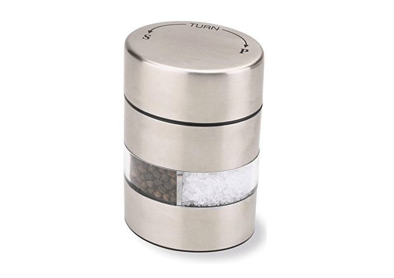 A shaker that holds both salt and pepper.