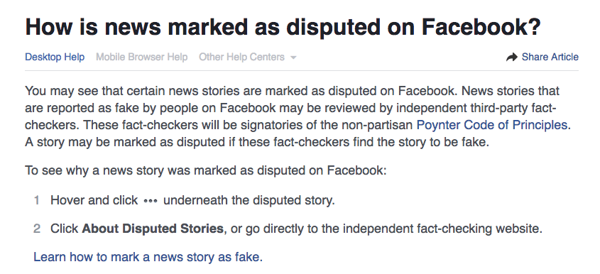 facebook disputed news screenshot