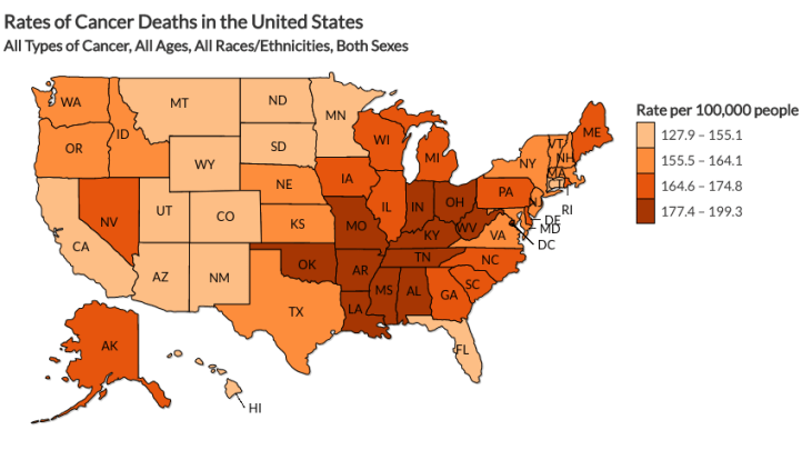 """The CDC was also able to capture the rates of cancer deaths in the US per 100,000 people. """"Cancer counts and rates are essential to measuring progress and targeting action toward this major cause of death among Americans,"""" the CDC said."""