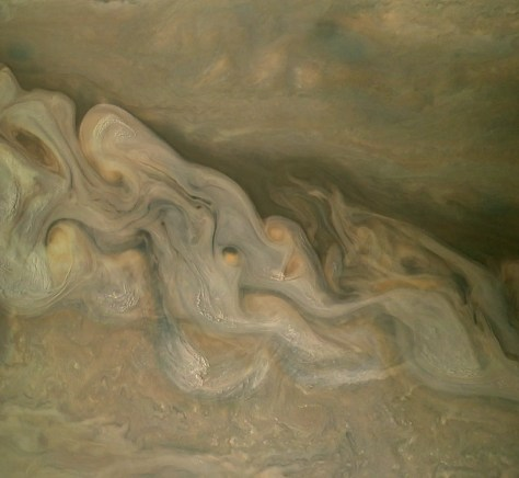 "Juno fan Björn Jónsson removed Jupiter's hazy ""global illumination"" to reveal this maelstrom of stormy clouds."