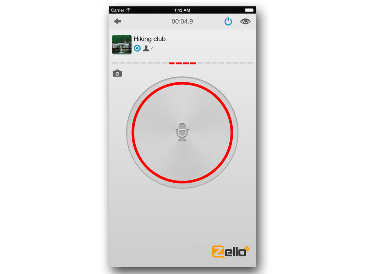 If you want to transmit a message, just press the record button. You can also send a photo by clicking the camera button on the left. Your message will post to the channel, where anyone can listen to it and respond.