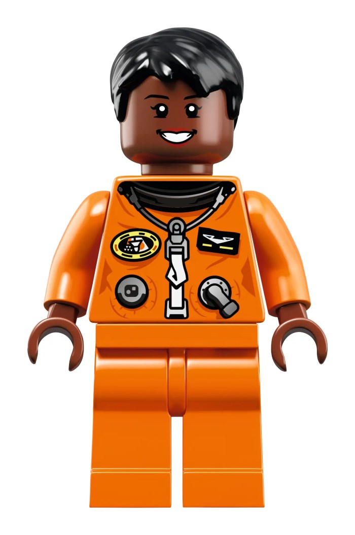 Mae Jemison, an astronaut, physician, and engineer, wears a 1990s space shuttle flight suit.