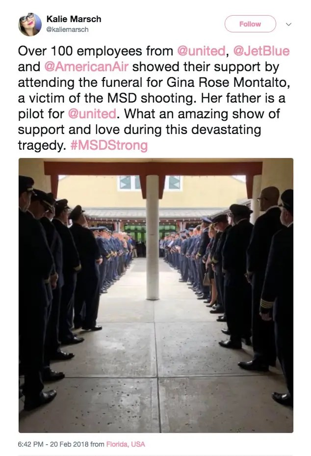 parkland funeral airline employees