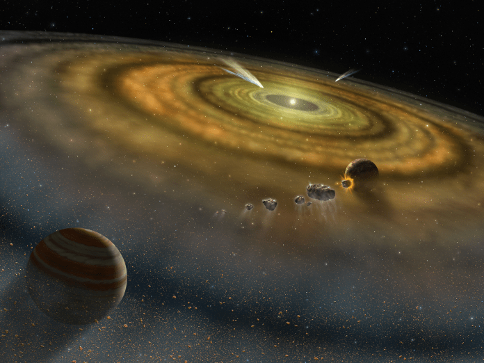 solar system formation gas dust disk billions years ago nasa