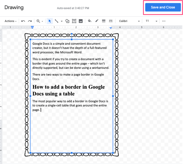 How to add border in Google Docs