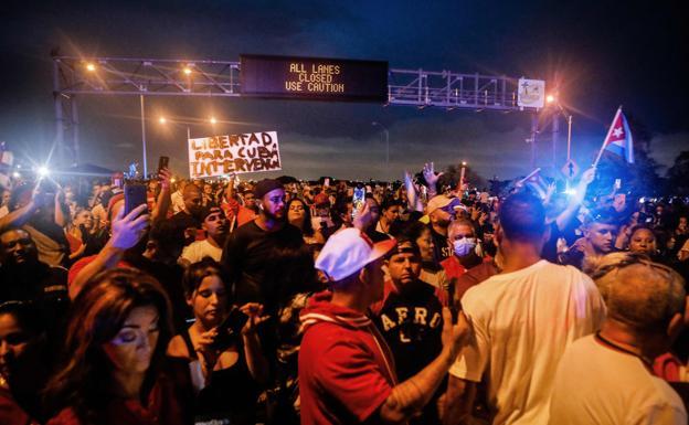 Protesters block Miami's Palmetto Expressway in support of protests in Cuba.