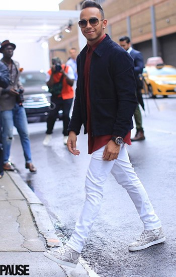 Lewis Hamiltons Style  Street Style Photos at FashionBeanscom