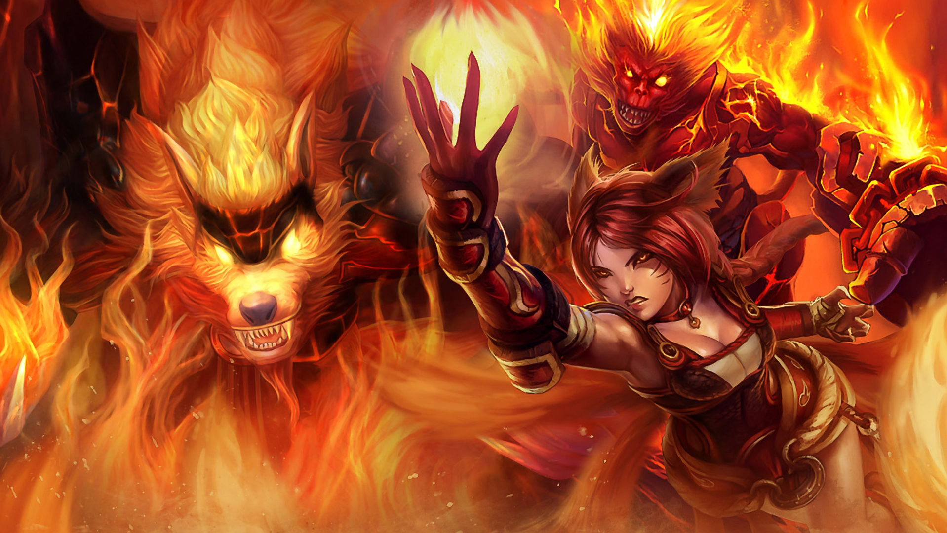 Draven And Girls Wallpaper Fire Trio Lolwallpapers