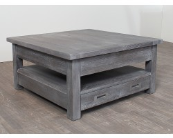 Table Basse Carree Chene Massif Grise Bella