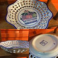Vintage German Porcelain Reticulated Fruit Bowl The