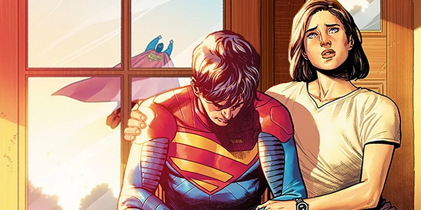 Lois comforts Jon as they watch Superman fly away, his reflection in the door mirror.