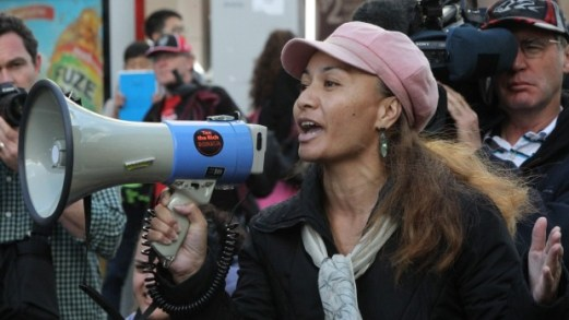 Marama Davidson, seen here during a protest against asset sales, breached Israel's sovereignty for no purpose, according to Paul Moon.