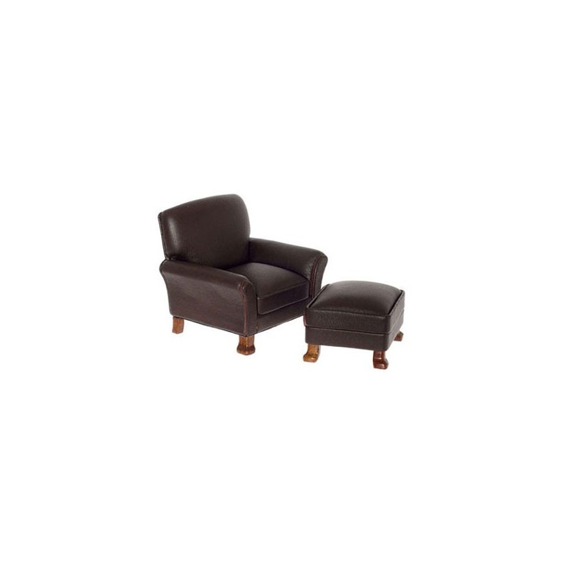 Brown Walnut Leather Arm Chair with Ottoman