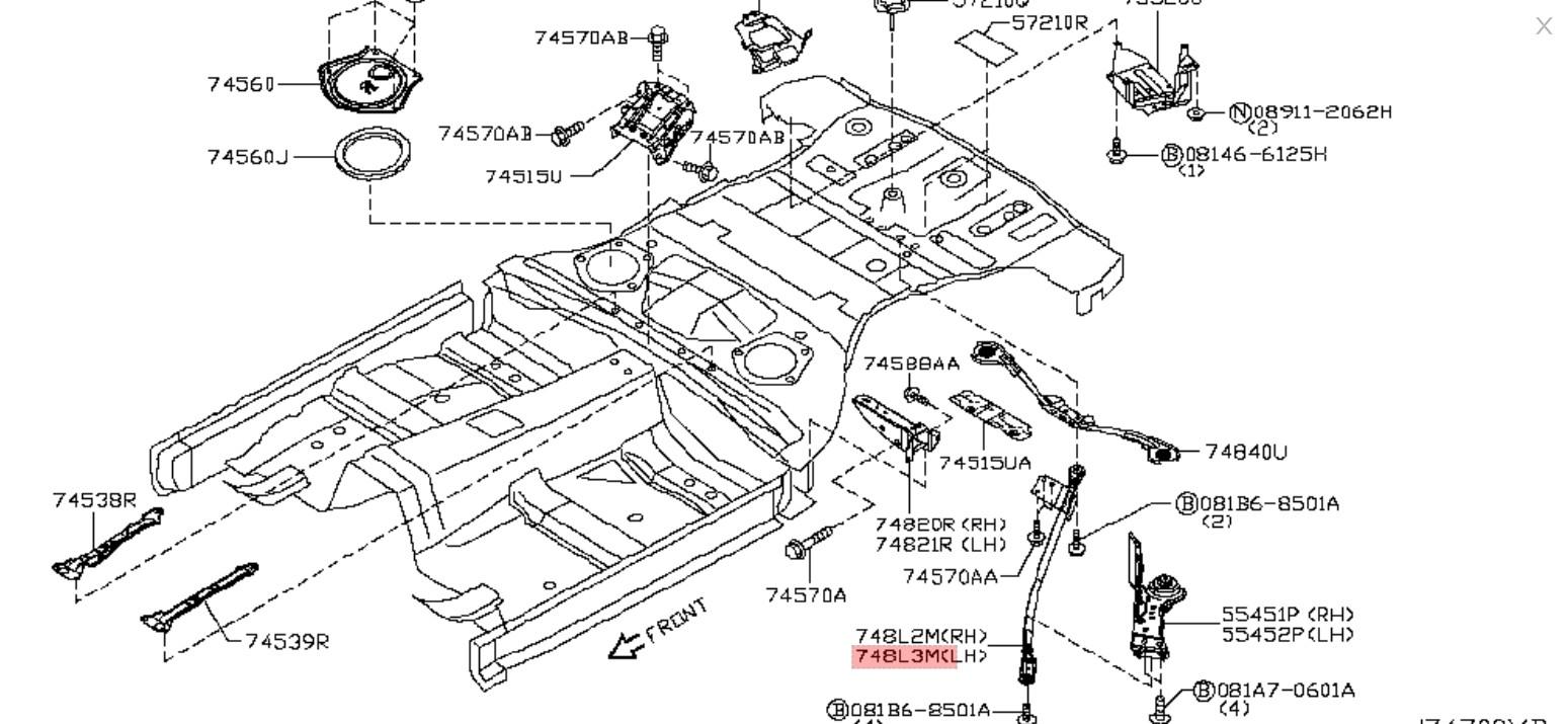 370z Z34 Nissan OEM Crossmember Rear Subframe Brace LH