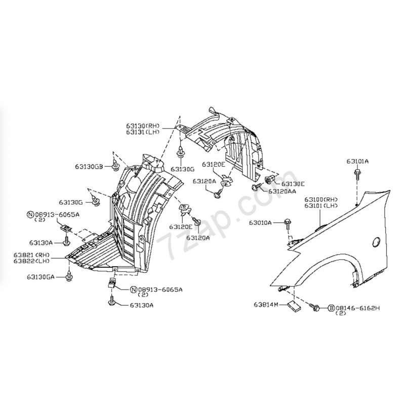 350z 2003-2008 Wheel Arch Liner Splash Guard hardware kit