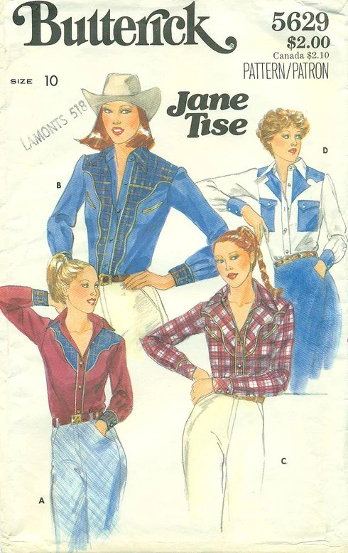 1970s Jane Tise western shirt pattern - Butterick 5629