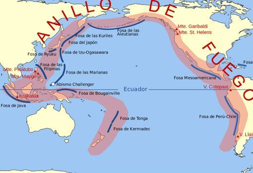 Extensión del Anillo de Fuego del Pacífico