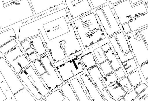 Map created by Snow where each line is a dead one.  You can see that most are stacked around the Baker Street pump