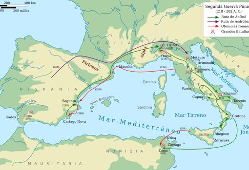 Mapa de la Segunda Guerra Púnica