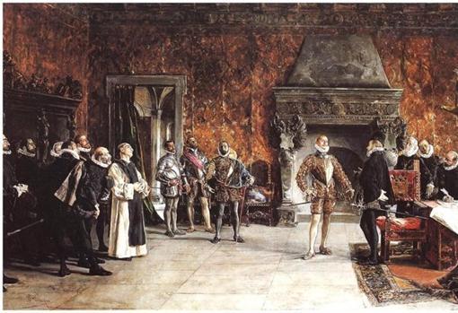 Don Juan es recibido por su hermano Felipe II