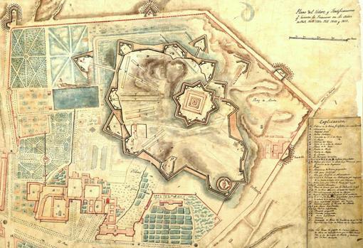 Plano de las fortificaciones francesas en el Buen Retiro.