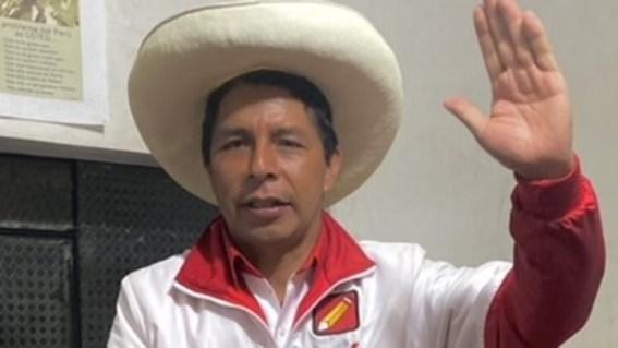 El candidato izquierdista Pedro Castillo, durante la entrevista con ABC