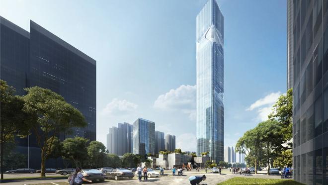 El edificio está situado en el nuevo distrito de Pingshan