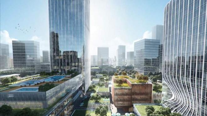 Se crearán también, alrededor, otros edificios con jardines en el techo