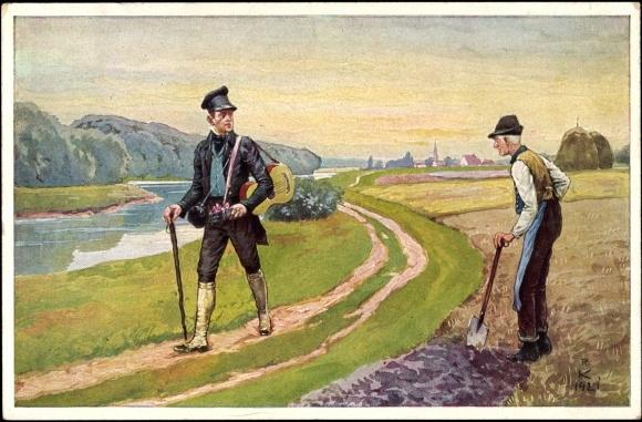 Knstler Ansichtskarte  Postkarte Alter Bauer Wenn ich den Wandrer frage  akpoolde