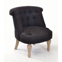 Buy a small bedroom chair in black linen with solid wood legs